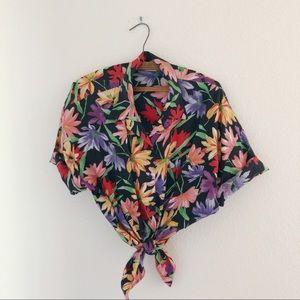 Vintage floral button up lightweight short sleeve